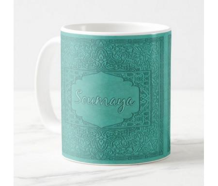 "Mug avec prénom personnalisable en calligraphie arabe style ""Naskh"" (Vert-bleu)"