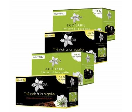 Pack 2 Boites de Thé Vert + 2 Boites de Thé Noir à la Nigelle