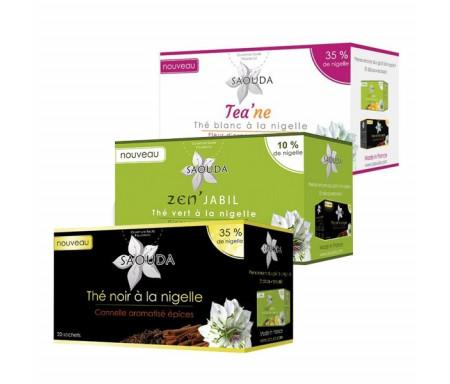 Pack de Thé à la Nigelle Trio : 1 boite Thé noir + 1 boite Thé vert + 1 boite Thé blanc