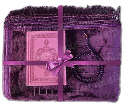 Coffret / Pack Cadeau Mauve pour femme musulmane : Tapis épais molletonné Mauve / Chapelet Tasbih Mauve / Coran arabe-français avec phonétique + CD offert couverture daim format moyen Mauve