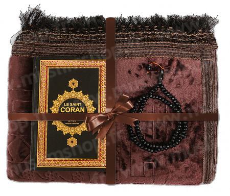 Coffret / Pack Cadeau Marron pour Homme et Femme : Tapis épais molletonné Marron / Chapelet Tasbih Marron / Coran arabe-français avec couverture cuir format moyen Noir et doré