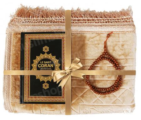 Coffret / Pack Cadeau Beige pour Homme et Femme : Tapis épais molletonné Beige / Chapelet Tasbih Marron / Coran arabe-français avec couverture cuir format moyen Noir et doré