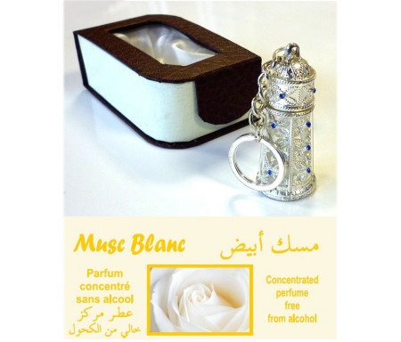 """Parfum """"Musc Blanc"""" en bouteille porte-clé métallique argentée avec boite cadeau"""