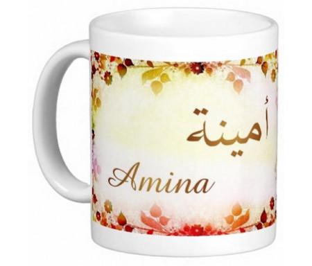 """Mug prénom arabe féminin """"Amina"""" - أمينة"""