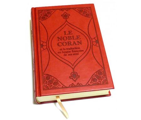Le Noble Coran et la traduction en langue française de ses sens (bilingue français / arabe) - Edition de luxe couverture cartonnée en daim rouge bordeaux