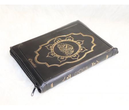 Le Saint Coran en langue arabe avec fermeture Zip - Grand format (14 x 20 cm) - Couleur noire