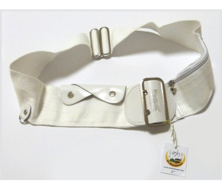 Ceinture blanche réglable pour le Hajj et la Omra avec poches intégrées (anti-vol) - Taille : S-M (98 cm / 42 pouces)