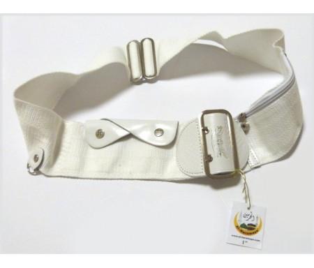 Ceinture blanche réglable pour le Hajj et la Omra avec poches intégrées (anti-vol) - Taille L (101 cm/44 pouces)