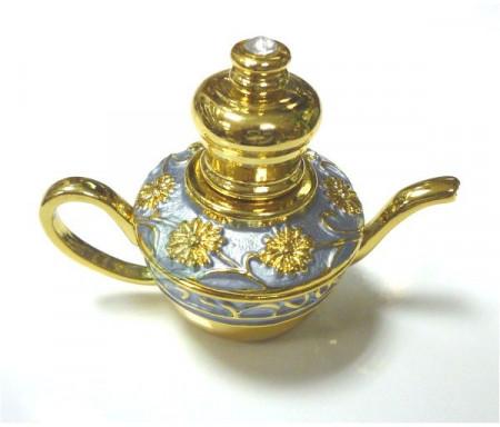 """Parfum Musc d'Or """"Aladin"""" - 3ml - Bouteille-Lampe merveilleuse d'Aladin dorée avec fleurs et arabesques"""