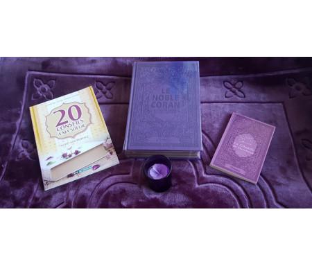 Pack Cadeau Mauve / Violet pour femme musulmane : Le Noble Coran Rainbow (français / arabe) - Livres 20 conseils - La Citadelle - Bougie parfumée - Tapis luxe