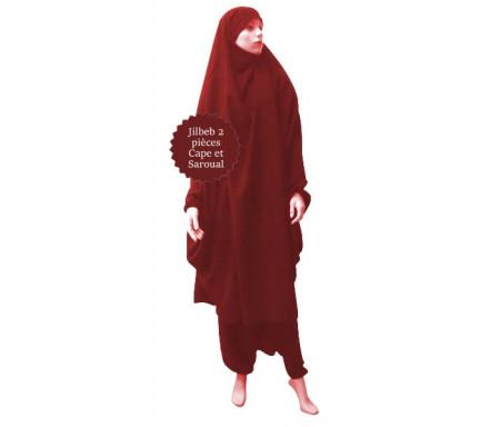 Jilbab (2) deux pièces cape et seroual (pantalon) - Couleur Bordeaux