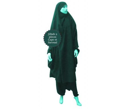 Jilbab (2) deux pièces cape et seroual (pantalon) - Couleur Vert canard