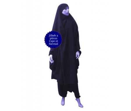 Jilbab deux (2) pièces cape et sarouel (pantalon) - Couleur Bleu marine