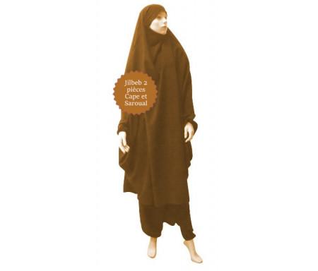 Jilbab deux (2) pièces cape et sarouel (pantalon) - Couleur Marron clair