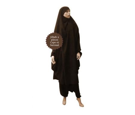 Jilbab deux (2) pièces cape et sarouel (pantalon) - Couleur Marron foncé