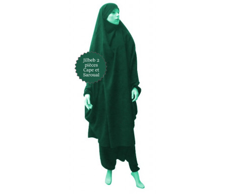 Jilbab deux (2) pièces cape et sarouel (pantalon) - Couleur Vert émeraude