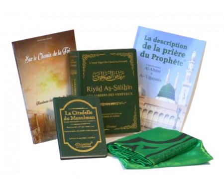 Pack cadeaux Convertis Vert : Riyâd As-Sâlihîn - Les Jardins des Vertueux, Sur le chemin de la foi, La description de la prière et Tapis de poche pliable