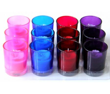 Pack de 12 bougies parfumées sous forme de fleur en couleur