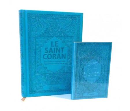 Pack Le Saint Coran et la Citadelle du Musulman (français / arabe / phonétique) couleur bleu