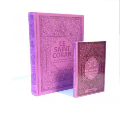 Pack Le Saint Coran et la Citadelle du Musulman (français / arabe / phonétique) couleur mauve