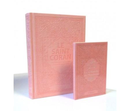 Pack Le Saint Coran et la Citadelle du Musulman (français / arabe / phonétique) couleur rose pale