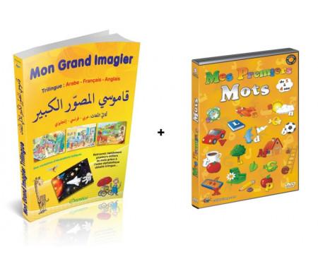 Pack : Mon Grand Imagier dictionnaire Trilingue (arabe - français - anglais) + Mes premiers mots (français-arabe)