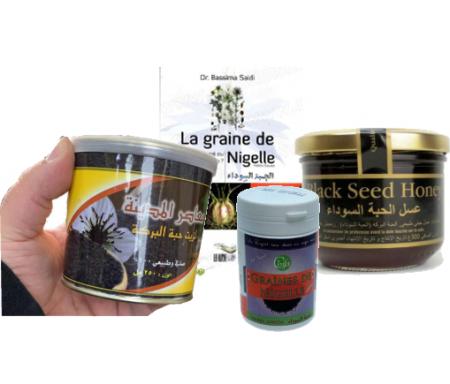 Pack Nigelle Premium Habba Sawda : Miel et Nigelle - Hule de Nigelle - Graine de Nigelle et Livre