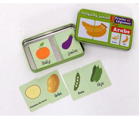 """Ma boîte puzzle DUO """"Fruits et Légumes"""" de 32 pièces (boîte métalique)"""