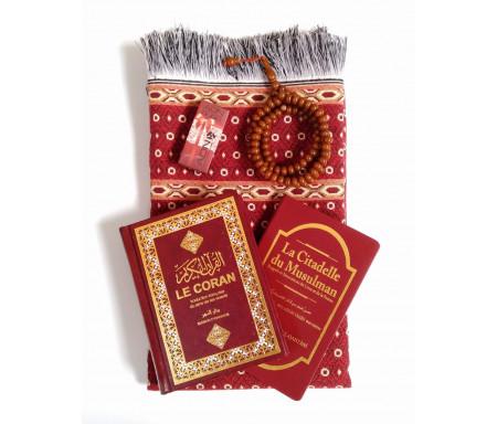 Pack Cadeau Rouge Bordeaux : Le Saint Coran + La Citadelle du musulman + Tapis de prière + Musc Adn + Chapelet Assorti