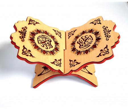 Porte-Livre (Porte Coran) Marron emboîtable (2 pièces) en Bois composite Calligraphié Al-Quran Al-Karim finition épaisse (29x21cm)