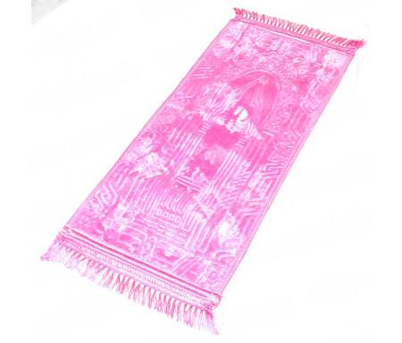 Tapis de prière pour enfant épais matelassé et confortable antidérapant et ultra-doux - Grande taille (80 x 40 cm) - Rose