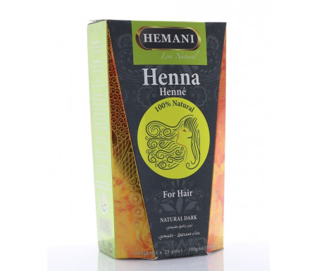 Henné Noir naturel (Natural Dark) pour Coloration des Cheveux 100gr (4 sachets x 25gr)