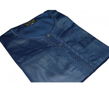 Qamis à manches courtes uni Bleu Taille 52 (Adulte)