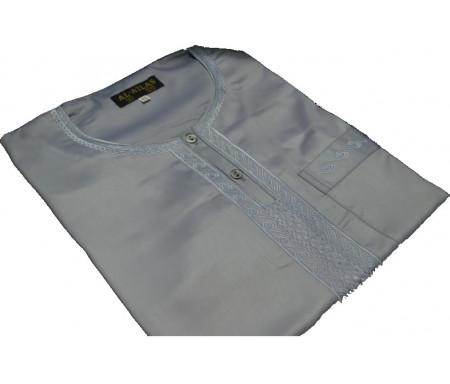 Qamis à manches courtes uni Gris taupe Taille 52 (Adulte)