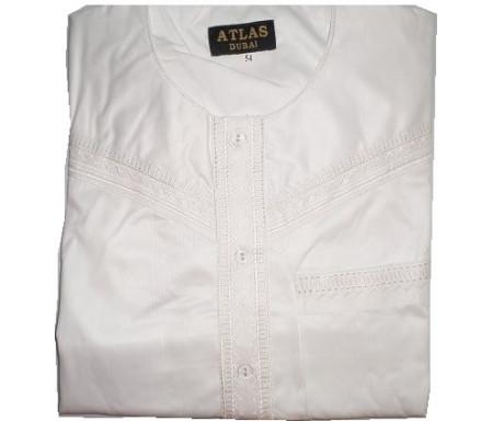 Qamis à manches courtes uni Blanc cassé Taille 52 (Adulte)