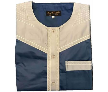 Qamis à manches courtes bi-couleurs Bleu marine / Col gris clair Taille 58 (Adulte)