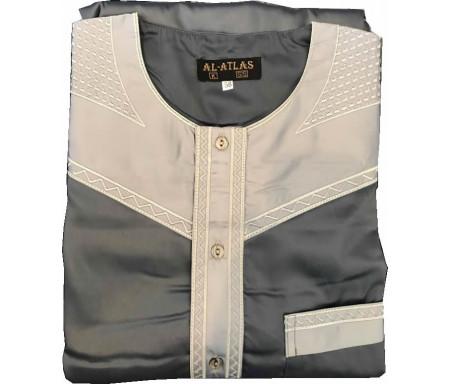 Qamis à manches courtes bi-couleurs Gris foncé / Col gris clair Taille 52 (Adulte)