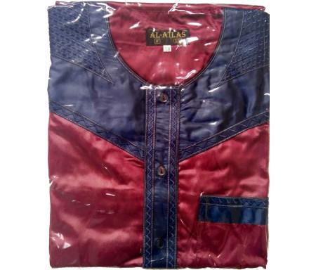 Qamis à manches courtes bi-couleurs Bordeaux / Col bleu marine Taille 58 (Adulte)