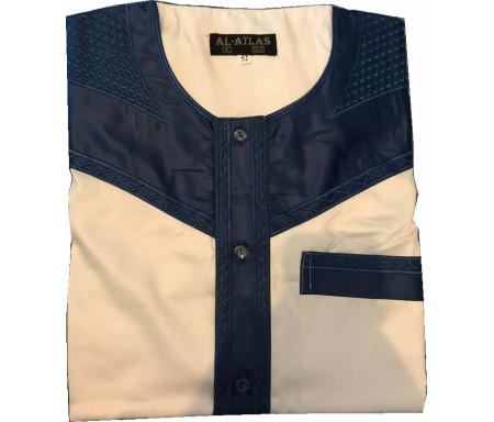 Qamis à manches courtes bi-couleurs Bleu / Col gris clair Taille 58 (Adulte)