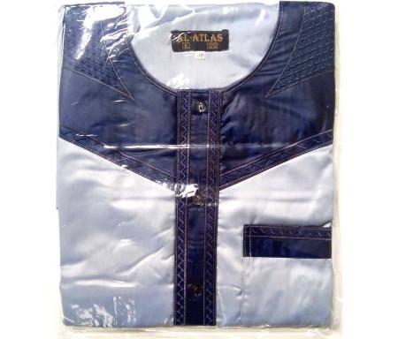 Qamis à manches courtes bi-couleurs Bleu clair / Col bleu marine Taille 52 (Adulte)
