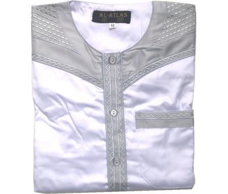 Qamis à manches courtes bi-couleurs Blanc cassé / Col gris clair Taille 58 (Adulte)