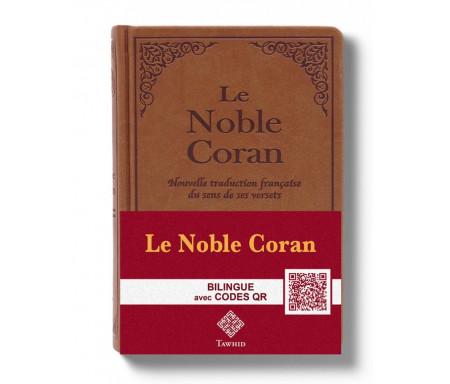 Le Noble Coran Marron (Camel) + QR Codes (Audio) en Arabe et Français