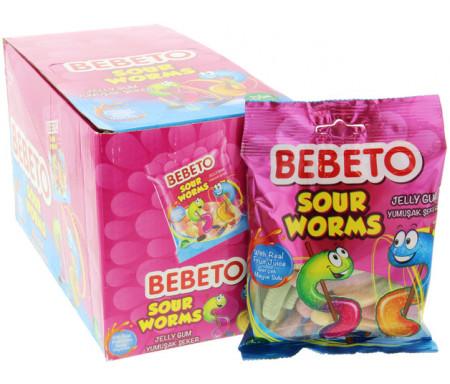 """Bonbons gélifiés halal Bebeto """"Sour Worms"""" en formes de vers de terre """"Sour Worms"""" - Boite de 12 pièces"""
