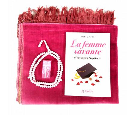Coffret / Pack cadeau prière pour femme : Tapis rose, Livre femme savante, Parfum Musc et chapelet perles