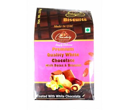 Datte Enrobé de Chocolat Blanc et Biscuit avec Amande 225gr