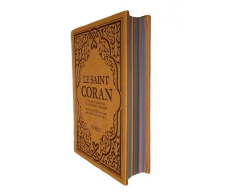 Le Saint Coran Beige avec Couverture Daim et pages Arc-En-Ciel / Français-Arabe-Phonétique