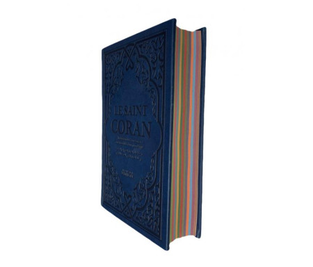 Le Saint Coran Bleu foncé avec Couverture Daim et pages Arc-En-Ciel / Français-Arabe-Phonétique