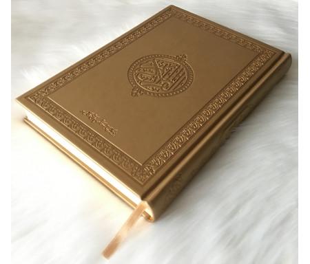 Grand Coran version arabe (Lecture Hafs) de luxe avec couverture en cuir couleur or (doré) - 18 x 25 cm