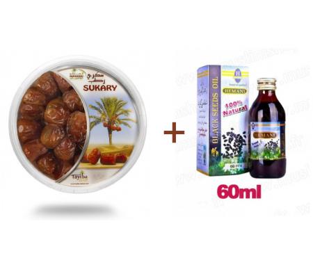 Pack Huile de nigelle + Dattes Sukary (Sokary) fraîches d'Arabie Saoudite