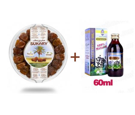 Pack Huile de nigelle 60ml + Dattes Sukary (Sokary) fraîches d'Arabie Saoudite 600gr